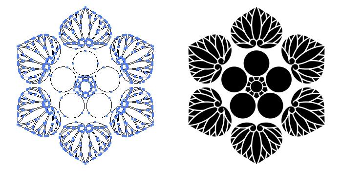 家紋・六つ葵に梅鉢のプレビュー画像とパス画像