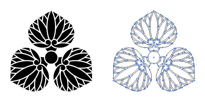 家紋・尻合わせ三つ葵のプレビュー画像とパス画像