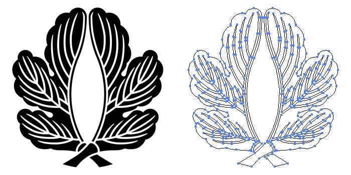 家紋・外割り梶の葉のプレビュー画像とパス画像