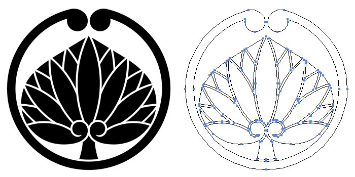 家紋・蔓一つ葵のプレビュー画像とパス画像