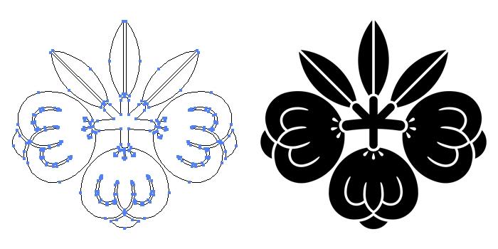 家紋・茶の実桐のプレビュー画像とパス画像