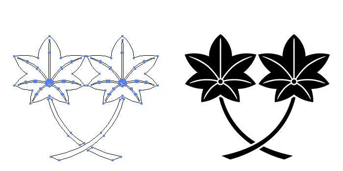 家紋・違い楓のプレビュー画像とパス画像