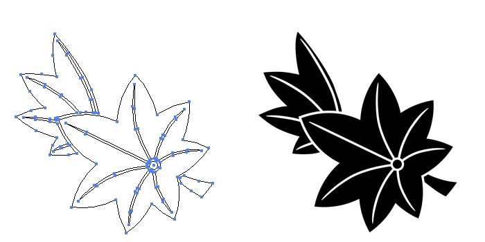 家紋・散り楓のプレビュー画像とパス画像