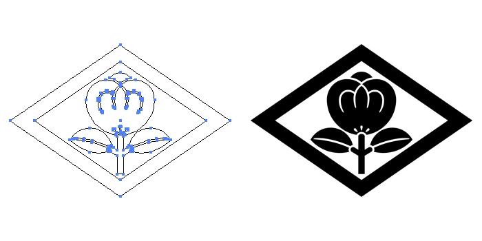 家紋・菱に一つ茶の実のプレビュー画像とパス画像