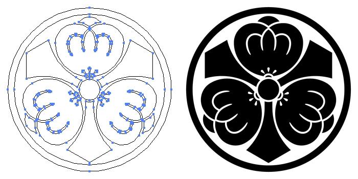 家紋・糸輪に剣三つ茶の実のプレビュー画像とパス画像