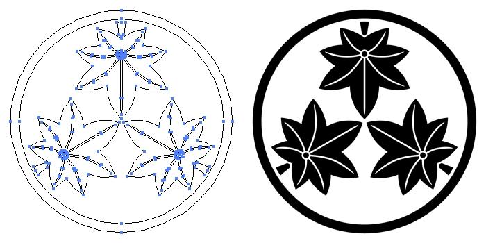 家紋・糸輪に三つ楓のプレビュー画像とパス画像