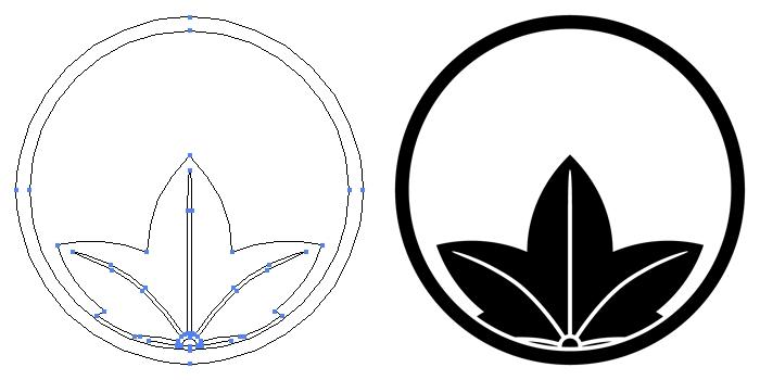 家紋・糸輪に覗き楓のプレビュー画像とパス画像