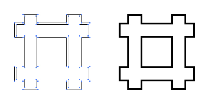 家紋・陰平井筒のプレビュー画像とパス画像