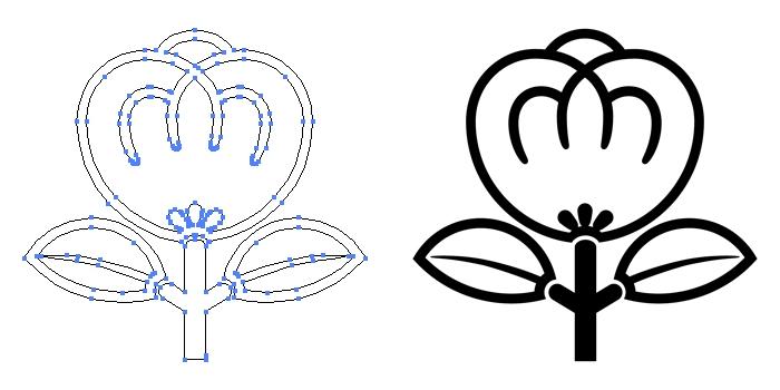 家紋・陰一つ茶の実のプレビュー画像とパス画像