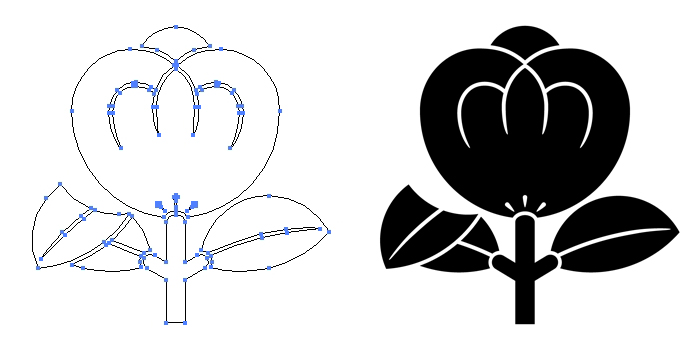 家紋・片葉折れ茶の実のプレビュー画像とパス画像