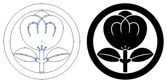 家紋・丸に一つ茶の実のプレビュー画像とパス画像