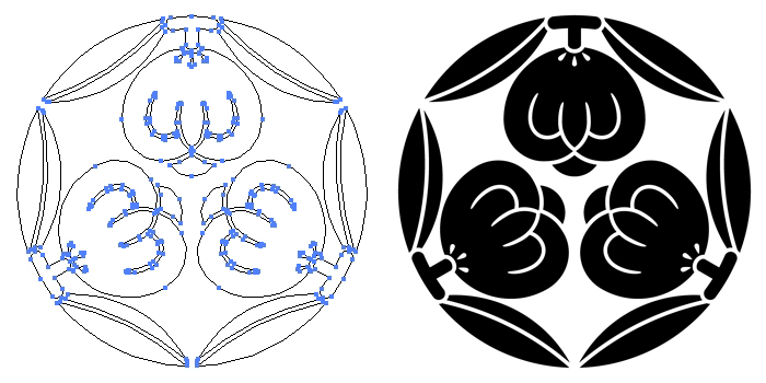 家紋・三つ茶の実のプレビュー画像とパス画像
