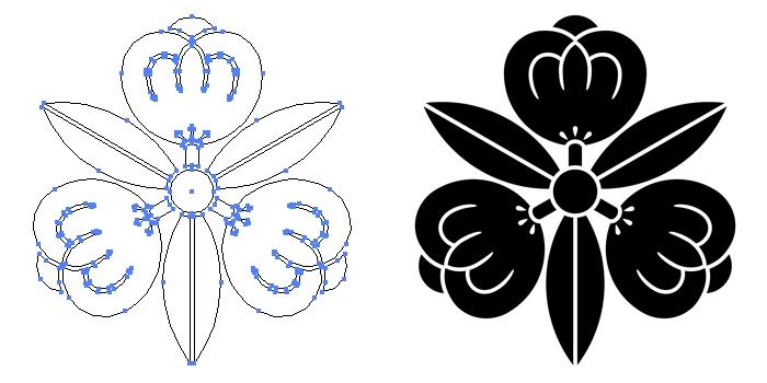 家紋・三つ葉茶の実のプレビュー画像とパス画像