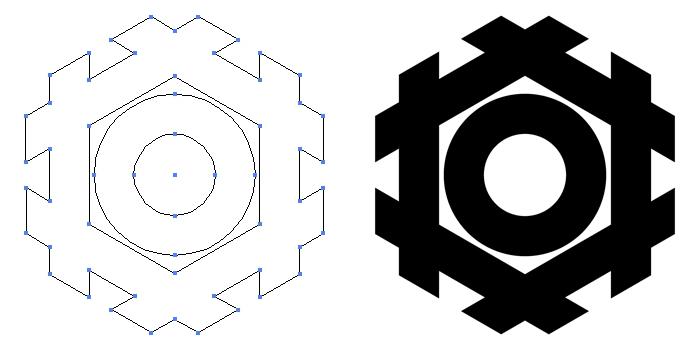 家紋・六角井筒蛇の目のプレビュー画像とパス画像