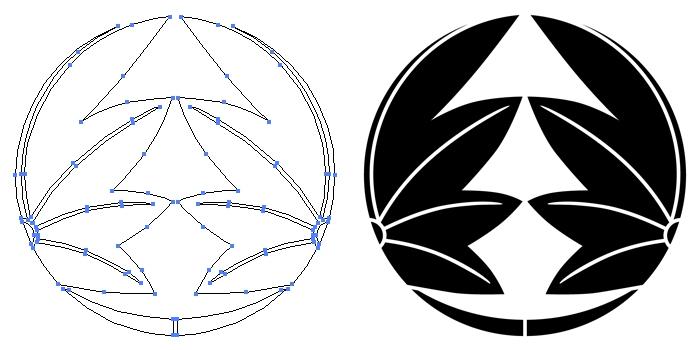 家紋・割り楓のプレビュー画像とパス画像