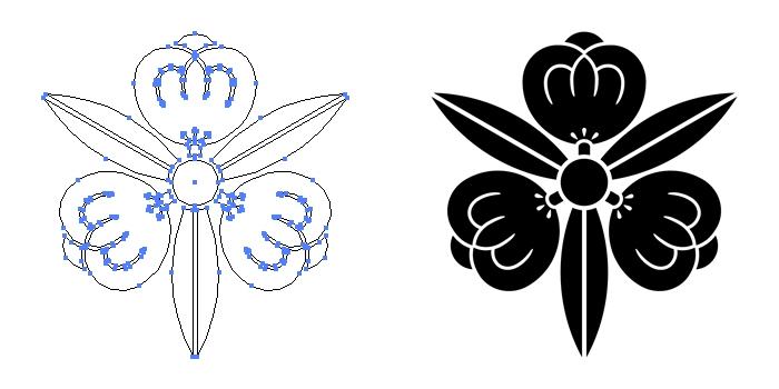 家紋・痩せ三つ竜胆茶の実のプレビュー画像とパス画像
