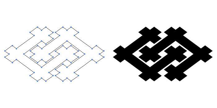家紋・違い井桁のプレビュー画像とパス画像