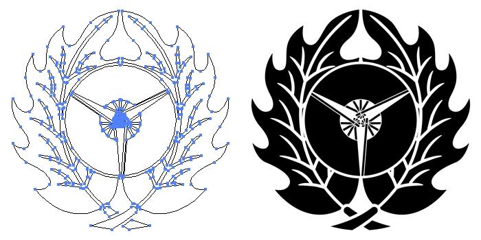 家紋・抱き柊に三つ扇のプレビュー画像とパス画像