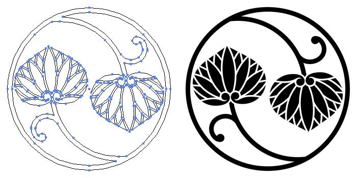家紋・二つ蔓葵のプレビュー画像とパス画像