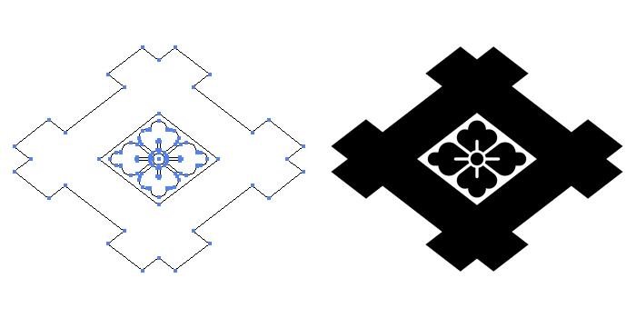 家紋・太井桁に花菱のプレビュー画像とパス画像