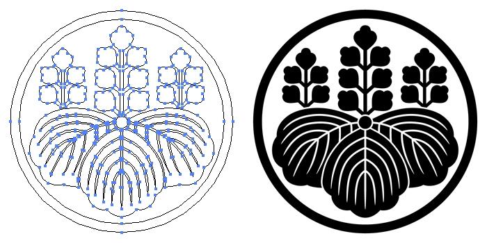家紋・糸輪に五七桐のプレビュー画像とパス画像