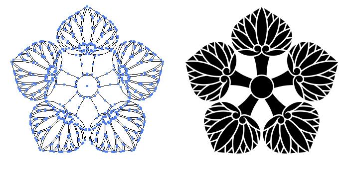 家紋・五つ葵のプレビュー画像とパス画像
