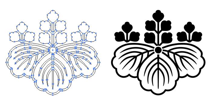 家紋・陰五三桐のプレビュー画像とパス画像