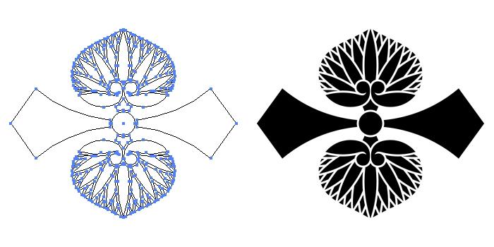 家紋・剣二つ葵のプレビュー画像とパス画像