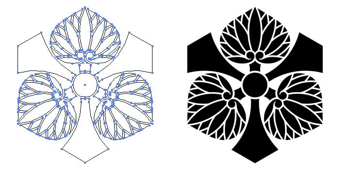 家紋・剣三つ葵のプレビュー画像とパス画像