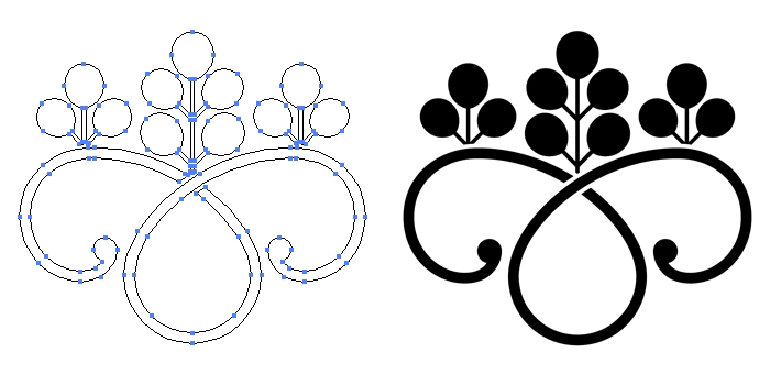 家紋・光琳鐶桐のプレビュー画像とパス画像
