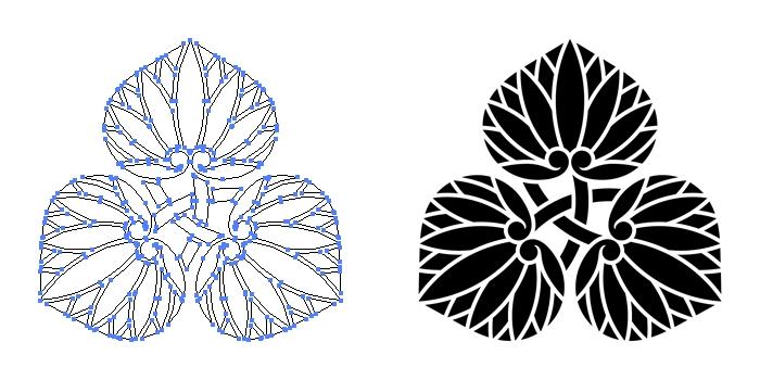 家紋・三つ軸違い葵のプレビュー画像とパス画像