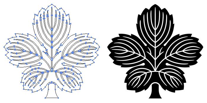家紋・鬼梶の葉のプレビュー画像とパス画像