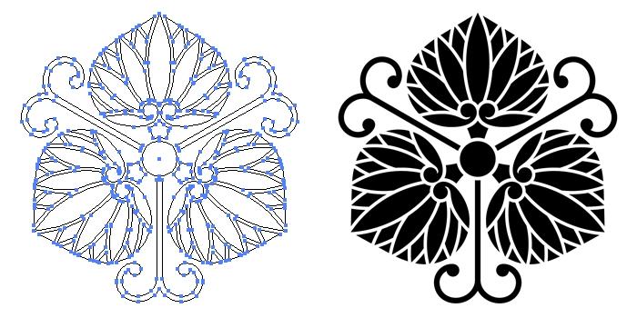 家紋・蔓三つ葵のプレビュー画像とパス画像