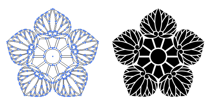 家紋・幼剣五つ葵のプレビュー画像とパス画像