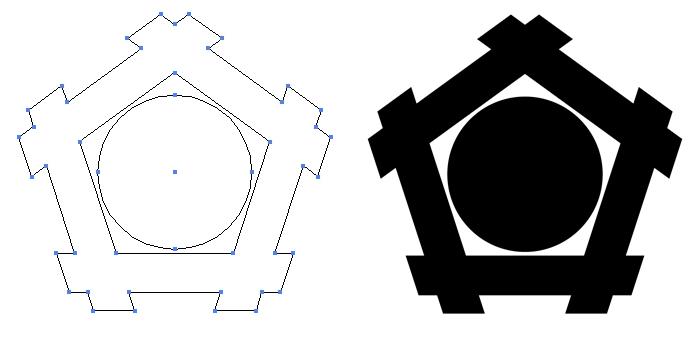 家紋・五角井筒に星のプレビュー画像とパス画像