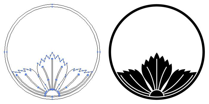 家紋・糸輪に覗き撫子のプレビュー画像とパス画像