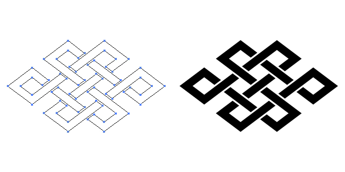 家紋・角宝結びのプレビュー画像とパス画像