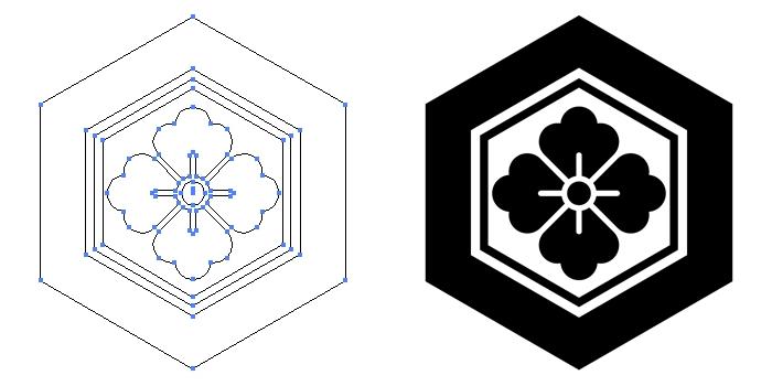 家紋・亀甲に花角のプレビュー画像とパス画像