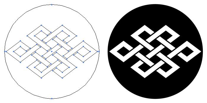 家紋・石持ち地抜き角宝結びのプレビュー画像とパス画像