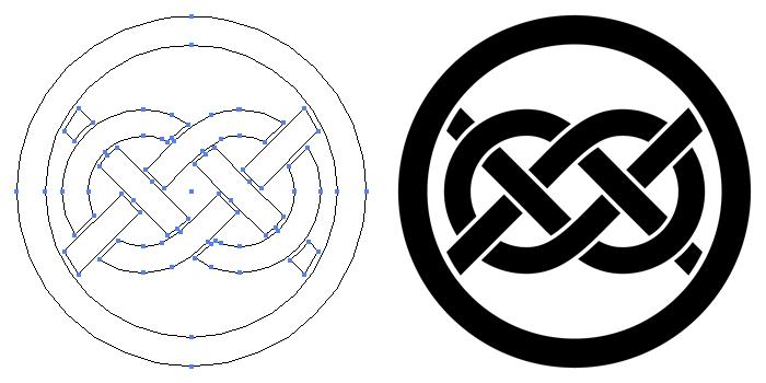 家紋・丸に変わり華蔓結びのプレビュー画像とパス画像