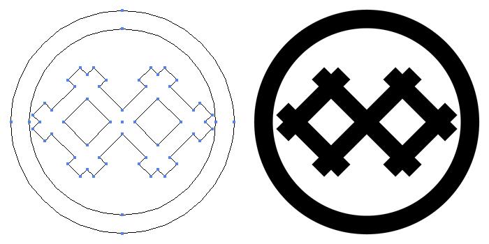 家紋・丸に持ち合い井筒のプレビュー画像とパス画像