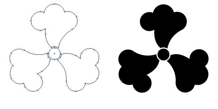 家紋・三つ鉄線のプレビュー画像とパス画像