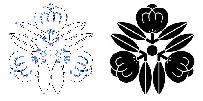 家紋・三つ寄せ茶の実のプレビュー画像とパス画像