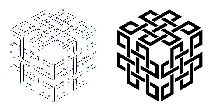 家紋・三つ寄せ角宝結びのプレビュー画像とパス画像