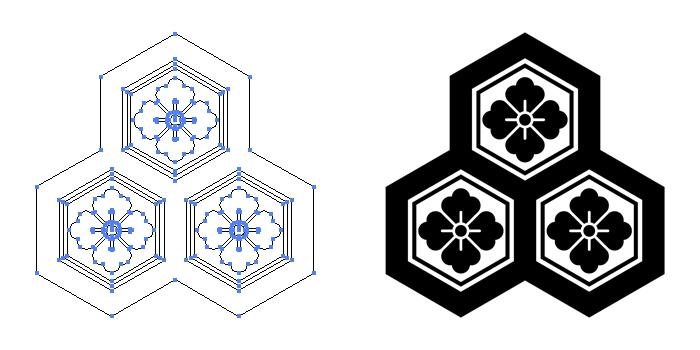 家紋・持ち合い三つ盛り亀甲に花角のプレビュー画像とパス画像
