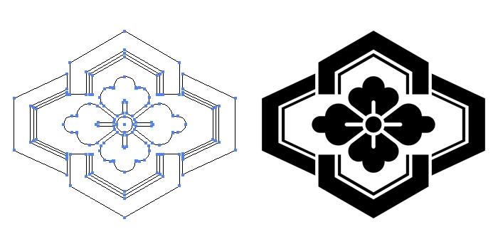 家紋・木瓜形亀甲のプレビュー画像とパス画像