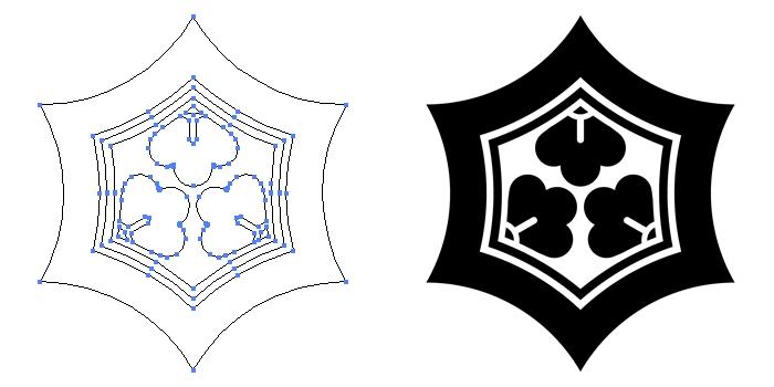 家紋・反り亀甲崩しのプレビュー画像とパス画像