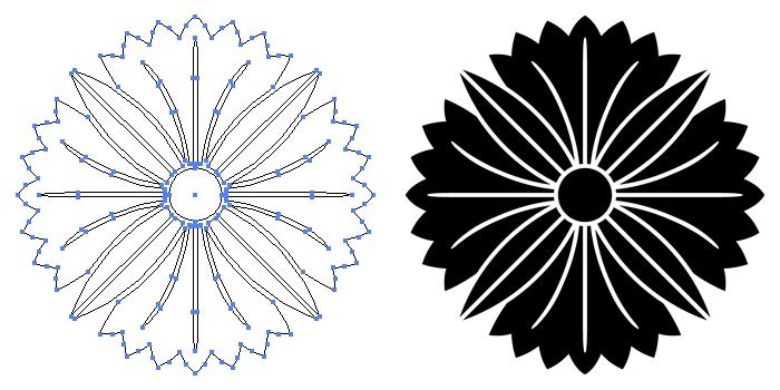 家紋・四つ葉撫子のプレビュー画像とパス画像