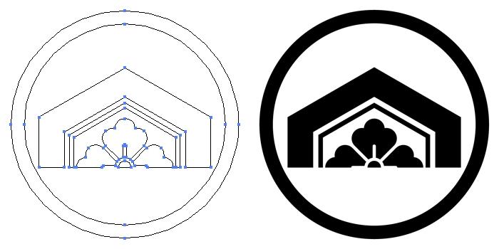 家紋・中輪に割り亀甲に花角のプレビュー画像とパス画像