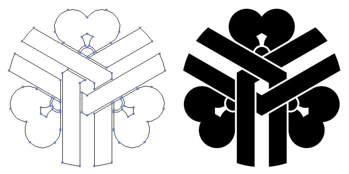 家紋・花亀甲崩しのプレビュー画像とパス画像